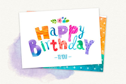 Watercolor Birthday Cards & Badges