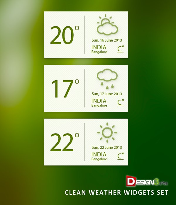 Clean Weather Widgets Set